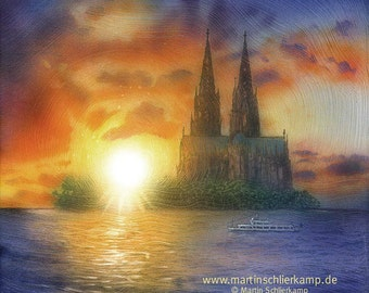Cologne is an island - Cologne is on island - painting painting - original