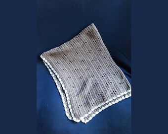 Organic cotton crocheted baby blanket