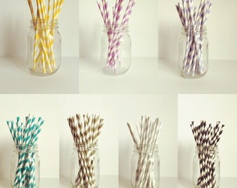 Paper straws in a variety of colors and patterns.