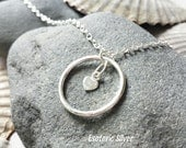 Solid Silver Locking Day Collar.  Discreet, Elegant. Handmade Silver O and Tiny Heart. Submissive. Slave.