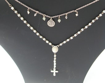 Lovely Vintage Silver Plate Necklace by Hultquist Copenhagen with semi precious stones and fresh water pearls