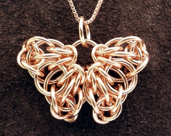 Celtic Butterfly Chainmail Pendant - 14kt Rose Gold Fill with 18' Chain