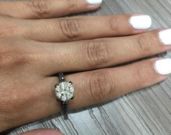 Certified White & Black Diamond Engagement Ring made in 14k BLACK GOLD