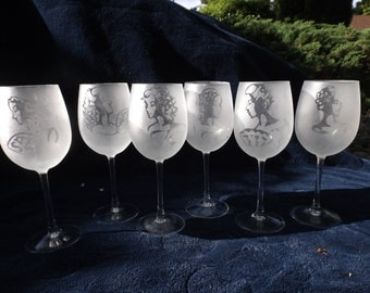 Lace-Etched White Wine Glasses (Set of 6)