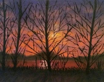 original painting on canvas landscape. Amber Sunset