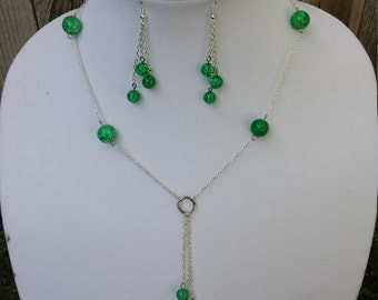 Green Chained Necklace Set