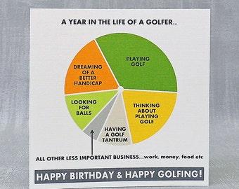Pie Chart Birthday Card; Golfer, Runner, Cyclist, Teacher, Nurse, Student, Cards