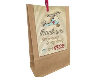 Kids Birthday printed HELICOPTER Paper Party Bags with Peg. Matching invitations available.