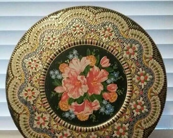 Daher Vintage Tin in Stunning Floral and Mosaic Pattern