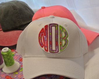 Cherries Jubilee Applique Monogram Hat