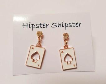 Ace of Spades Dank Cartoon Earrings