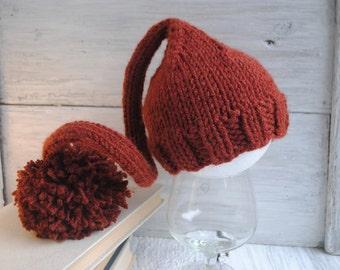 Newborn knit hat, newborn elf hat, baby girl hat, baby boy hat, newborn knit elf hat, newborn girl, newborn boy, newborn photo prop