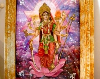 KALI DURGA DEVI-original drawing of Prema Devi with frame and glass