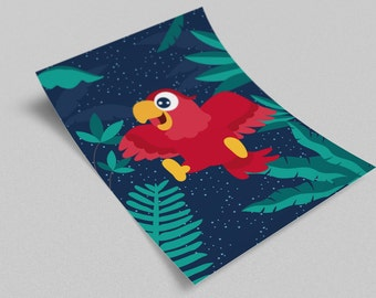 Poster Blue Parrot for child's bedroom - immediate download