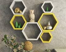 DecorNation Wall Shelf Rack Set Of 6 Hexagon Shape Storage Wall Shelves For Home - Yellow & White