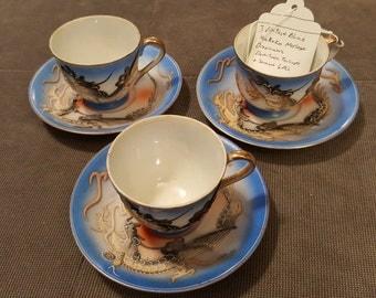 3 dragonware moriage tea cup sets