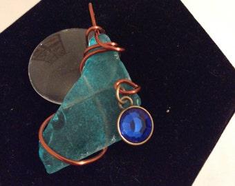 Aqua/Copper Wire Wrapped Sea Glass Pendant