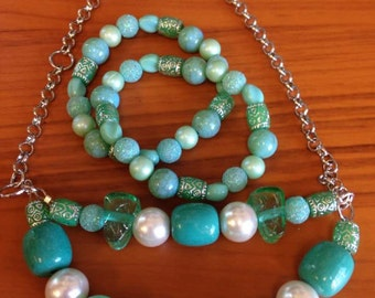 Teal and Pearl necklace and two bracelets