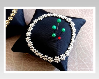 Pincushion in Handmade-Madam Sarah J -Beading Pincushion Pillow-silver/Needle Holder/small  gift/Pincushion floral