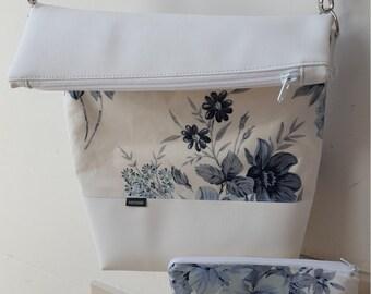 Make-up bag - blue flower - lined shoulder bag PANYMOON