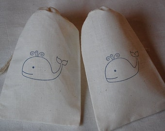 10 Cute Whale muslin cotton party favor bags 4x6 inch - great for birthday party, baby showers, goodie bags, cotton pouch, gift bags