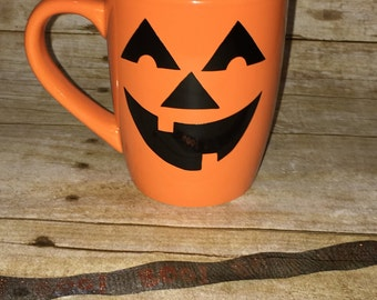 Jack-o'-lantern coffee or tea mugs ! Perfect for Halloween ! Pumpkin color !