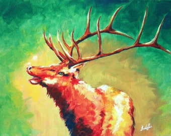 Elk Portrait Acrylic Painting - original, animal painting, elk painting, canvas art, wall decor