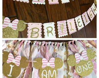 Pink and gold minnie mouse high chair skirt with small banner and happy birthday banner