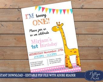 Giraffe Invitation, Giraffe Birthday Invitation, Giraffe Birthday Party, Self Editable PDF file, Instant Download, Girl or Boy Invitation,