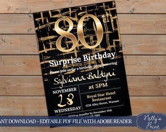 80th Surprise Birthday Invitation, Surprise 80th Birthday Invitation, Adult Birthday Invitation, Self Editable PDF, Instant Download, Women