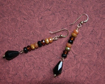 Fire-polished Glass & Gold-filled Long Skinny Beaded Earrings With Teardrops - Black, Orange And Amber