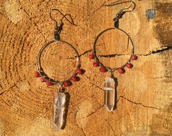 Large red and quartz dangles