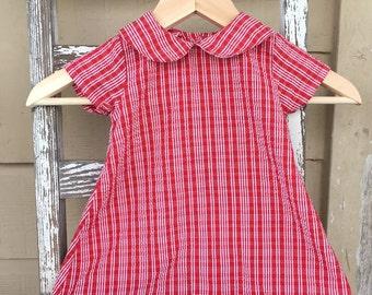 Vintage Red and White Samara Toddler Dress