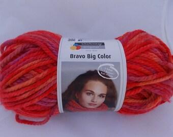 Red multicolor yarn, knitting yarn, crochet yarn, Schachenmayr Bravo Big Color, super bulky yarn, cheap yarn, yarn lot, roving yarn