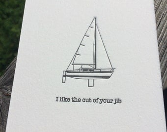I like the cut of your jib - Letterpress Note Card