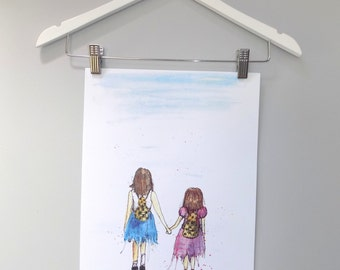 Watercolour Sisters Print A3