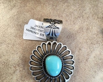 ON SALE Vintage Navajo Sterling Silver and Turquoise Pendant
