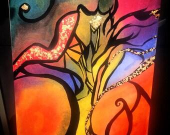 Pop art painting in oil, gouache, sheet d gold