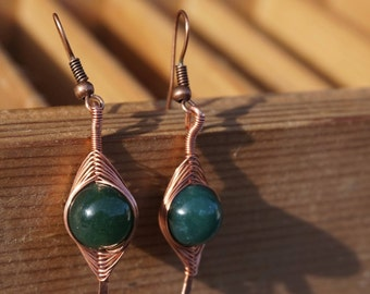 "Earrings ""jade Œil"" copper"