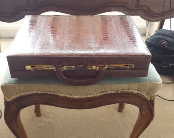 Rare Crocodile Leather Briefcase with 24 Karat Gold Lock