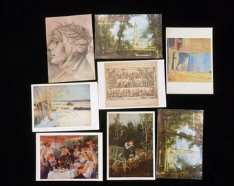 Vintage Postcards Destash, Collectible Art Postcards, John Constable Postcard, Vintage Art Postcards Decoupage, Mixed Media, Renoir Art