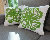 """2 Pcs.of Pear Green Hawaiian Quilt Backrest Pillowcases 18"""",pillow covers,decorate pillow,Quilted,Hand sewing,Luxury Handmade Thailand,Aloha"""
