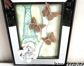 Paris Butterfly Picture 3d Wall Hanging Mirror frame Shabby Chic