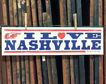 I Love Nashville Letterpress Poster