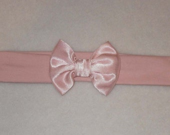 Baby's Pale Pink Cotton Lycra Hair Band with Satin Bow 0-36 months Headband