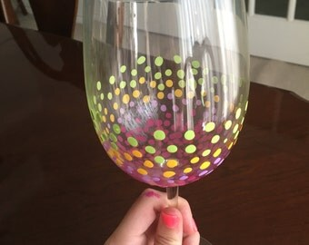 Hand painted Polka dot wine glass