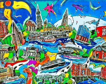 Hamburg 3D Pop Art skyline cityscape shadow box print souvenir Limited Edition