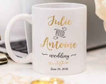 Wedding mug, customized wedding reception gift mug