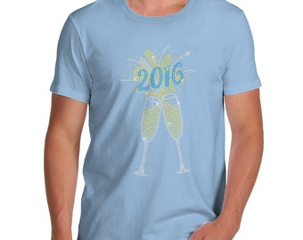 Men's 2016 Champagne Celebration Rhinestone Diamante T-Shirt