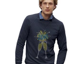 Men's 2016 Champagne Celebration Rhinestone Diamante Sweatshirt
